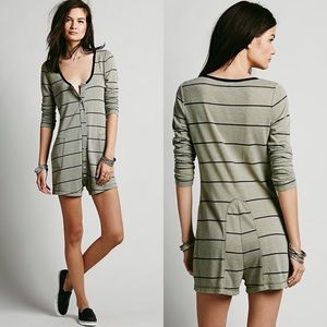Free People Green Alex'S Long Sleeve Sailor Romper